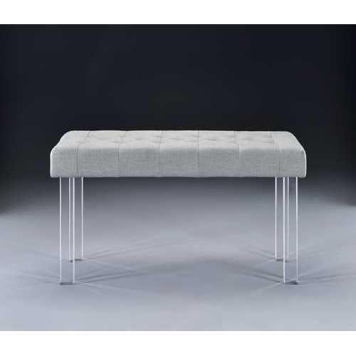 Bench in Linen & Clear Acrylic - Linen, Metal Linen & Clear Acrylic