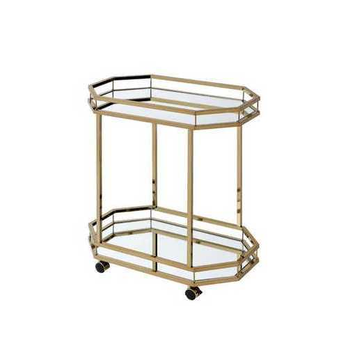 """27.6"""" X 16.6"""" X 31.5"""" Mirror And Champagne Serving Cart"""