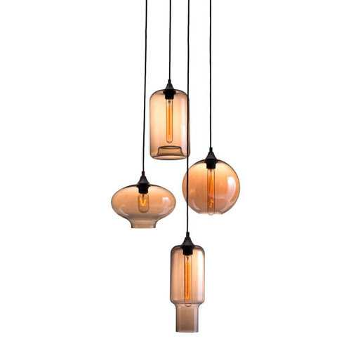 """19.7"""" X 19.7"""" X 62"""" Rust And Amber Glass Metal Ceiling Lamp"""