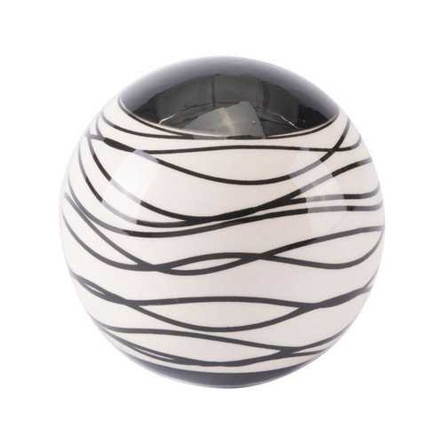 "4.1"" X 4.1"" X 4.1"" Black And Ivory Stripes Orb"