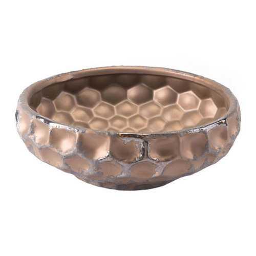 "11"" X 11"" X 3.9"" Hammered Rustic Bronze Bowl"