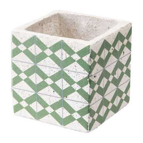 "4.9"" X 4.9"" X 4.9"" Green And Yellow Cement Tribal Planter"