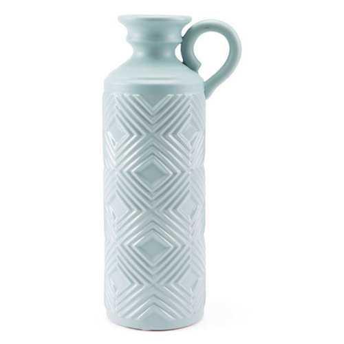 Bottle With Herringbone Pattern In Blue