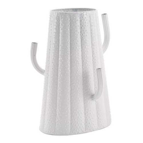 "10.2"" X 7.5"" X 14.2"" Cactus White Metal Vase"
