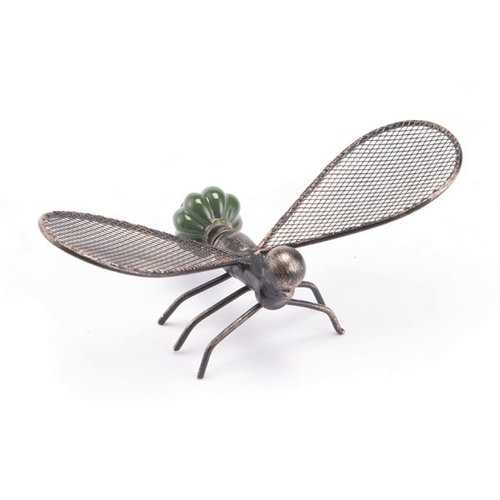 "7.3"" X 3.9"" X 3.1"" Green Flying Ant Sculpture"