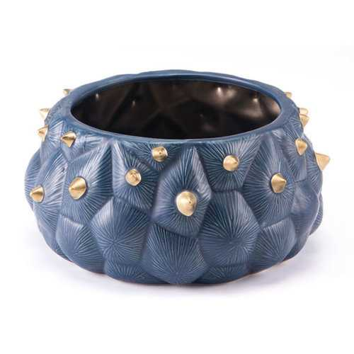 """10.8"""" X 10.8"""" X 5.1"""" Breathtaking Blue And Gold Bowl"""
