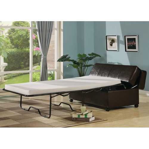 Dark Brown Fold Out Ottoman Sleeper Bed with Mattress