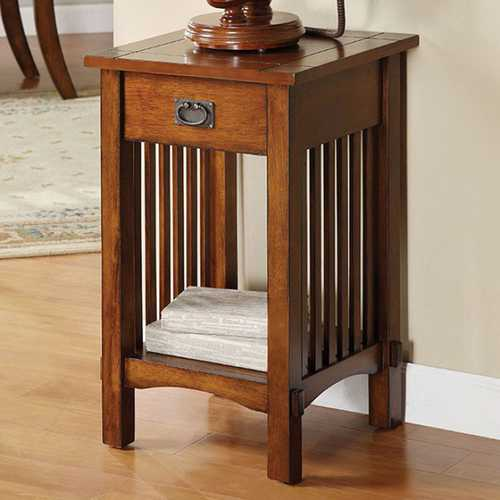 Traditional Telephone Stand, Antiqued Oak Finish