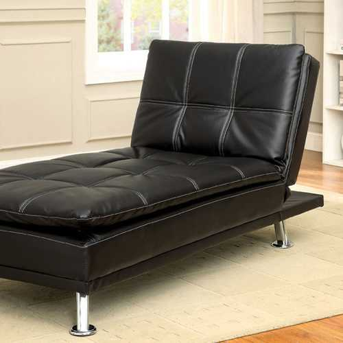 Modern Style Leatherette Chaise, Black
