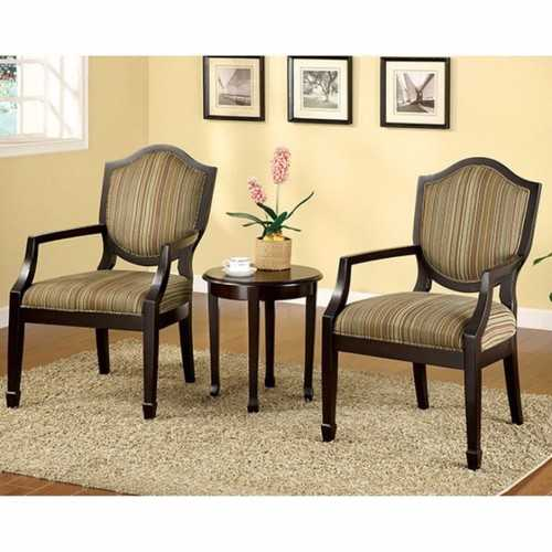 Bernetta II Transitional Set Of Table & Accent Chairs, Espresso Finish, Set Of 3