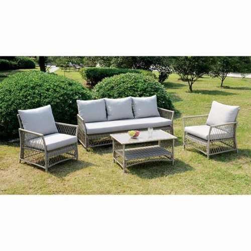 Sturdy Contemporary Patio Seating, Set Of 4, Light Gray