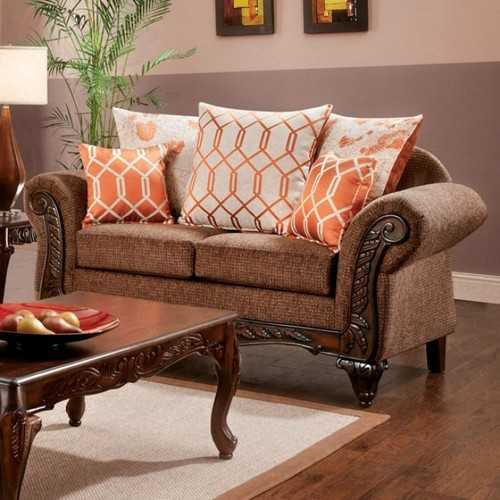 Deluxe Loveseat Transitional Style, Brown
