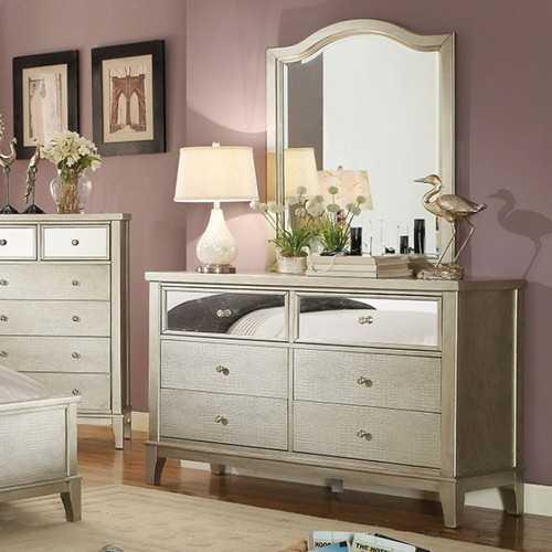 Adeline Contemporary Style Dresser With Crystal Knobs, Silver