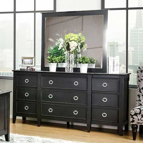 Arabelle Transitional Style Dresser With Loop Knobs, Black