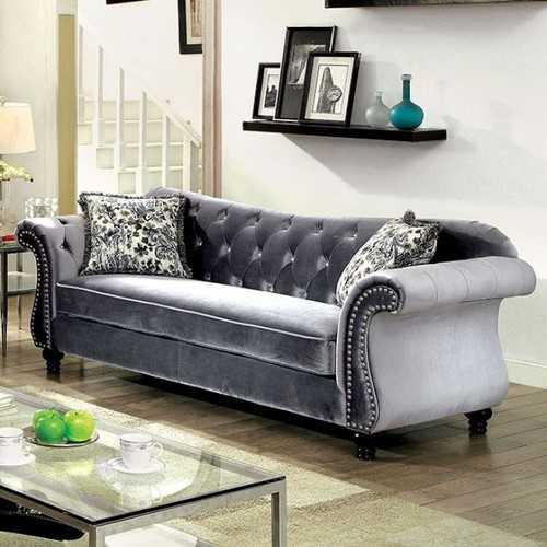 Glamorous Traditional Style Sofa, Gray