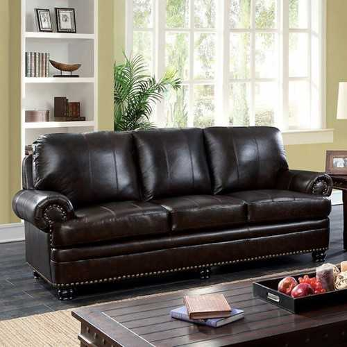 Luxurious Transitional Style Sofa, Dark Brown