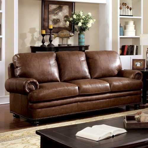 Luxurious Transitional Style Sofa, Brown