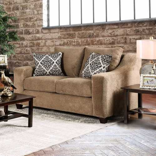 Love Seat With Sloped Track Arms, Mocha
