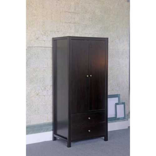 Commodious Dark Brown Finish 2 Drawers Wardrobe With Metal Glides.