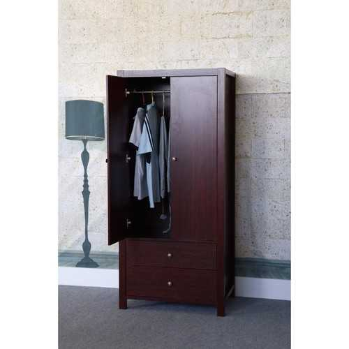2 Magnet Closing Door Wardrobe With Inner Hanging Rail, Cherry Brown