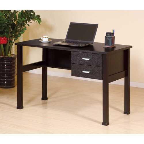 Sophisticated Dark Brown Finish 2 Drawers Desk