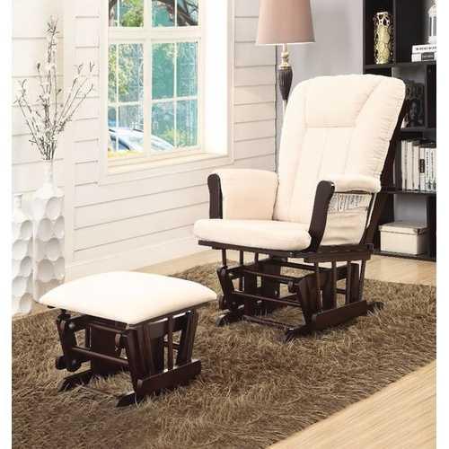 Glider Chair & Ottoman, 2 Piece Pack, Brown & Cream