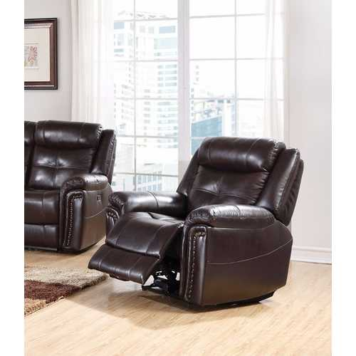 Anita Recliner (Power Motion), Espresso Brown Leather Match