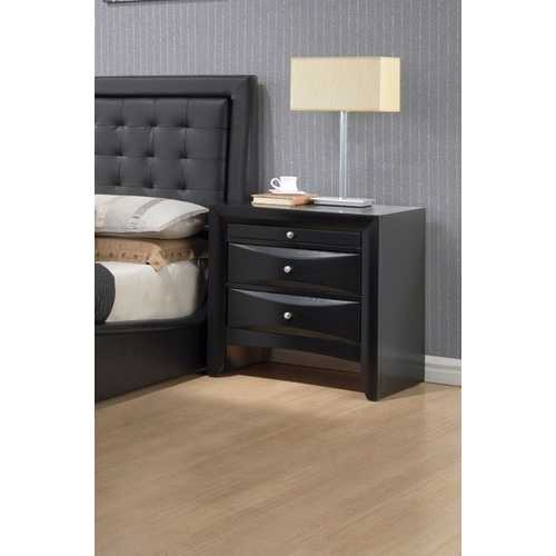 Contemporary 2 Drawer Wood  Nightstand, Black