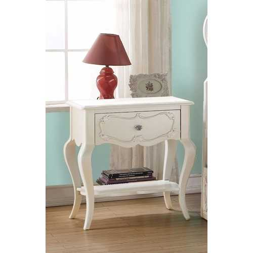 Beautiful Wood Nightstand, Pearl White