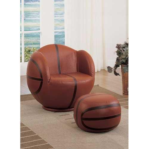 All Star 2 Piece Pack Chair & Ottoman, Basketball: Brown & Black