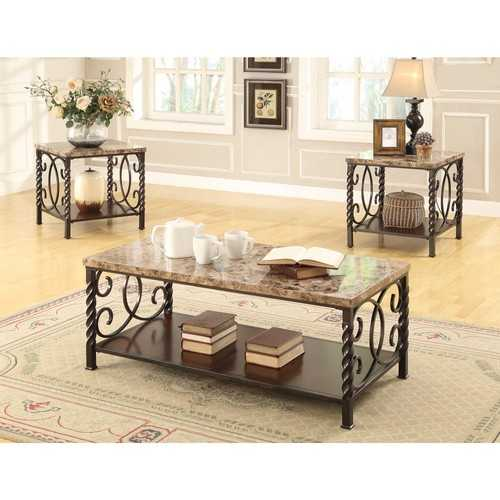 3 Piece Occasional Set with Faux Marble Top, Dark Brown
