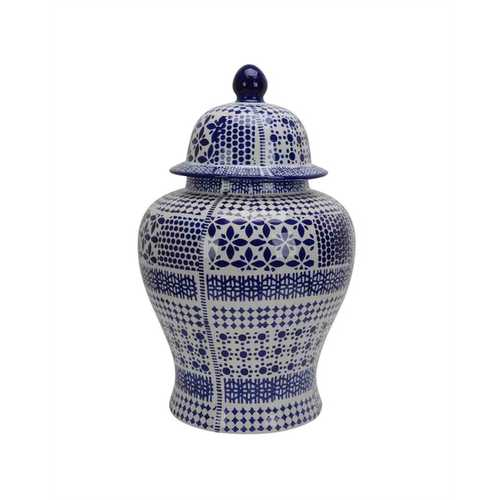 Ceramic Temple Lidded Jar in White and Blue finish