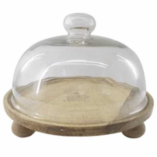 Artistic Wood And Glass Domed Cake Stand, Clear And Brown