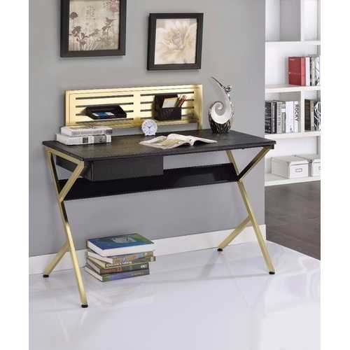 Alluring Writing Desk, Black & Gold