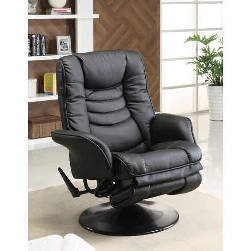 Opulently Functional Glider Chair With Ottoman, Black