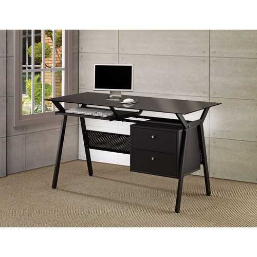 Modish Metal Computer Desk with Two Storage Drawers, Black