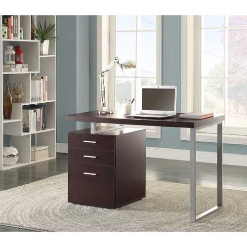 Contemporary Style Office Desk with File Drawer, Brown