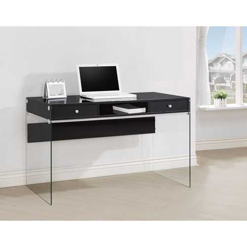 Elegant Metal Writing Desk with Glass Sides, Clear And Black