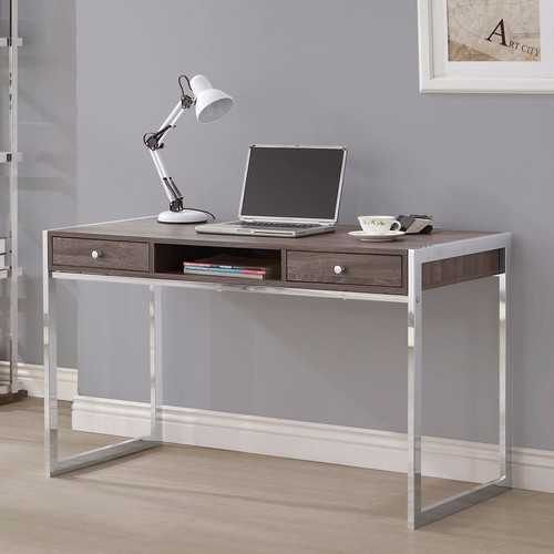 Wooden Writing Desk With Electroplated Chrome Frame, Gray