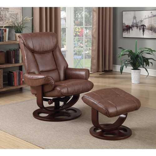 Extra Comfortable Chair and Ottoman, Chestnut Brown
