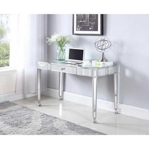 Elegantly Charmed Mirror Finish Writing Desk, Silver
