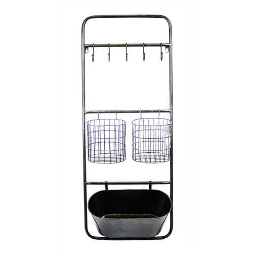 Practical and Functional Metal Wall Organizer, Black