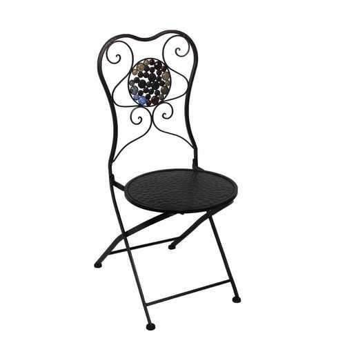 Beautifully Designed Metal Chair With Stones, Black