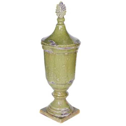 Artistic Ceramic Lidded Jar ,Green