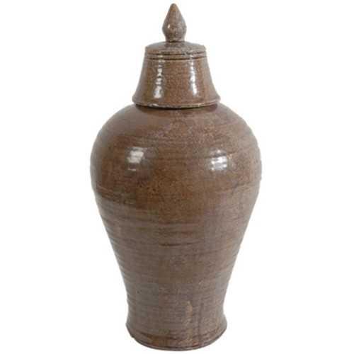 Ceramic Lidded Jar, Brown