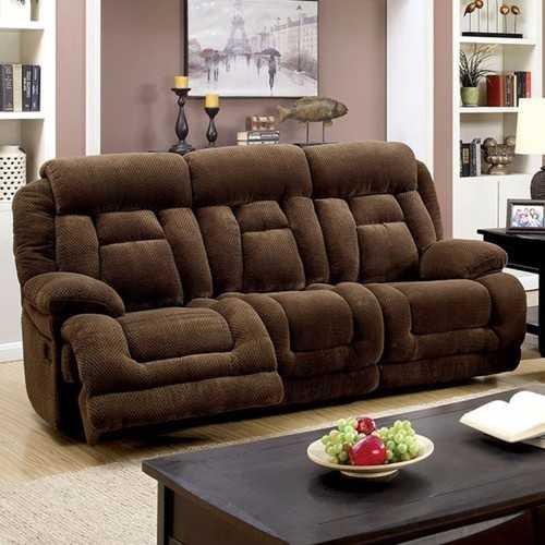 Flannelette Fabric Sofa, Dark Brown