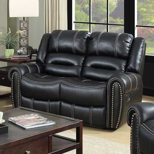 Leatherette Comfortable Loveseat, Black