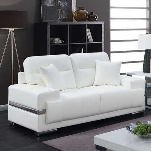 Leatherette Loveseat With Pillows, White