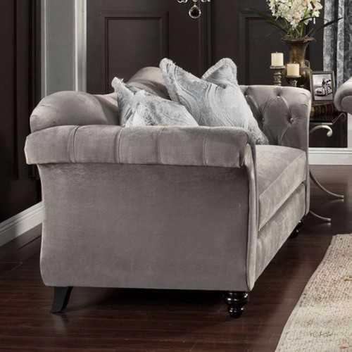 Premium Velvet Fabric Loveseat, Gray
