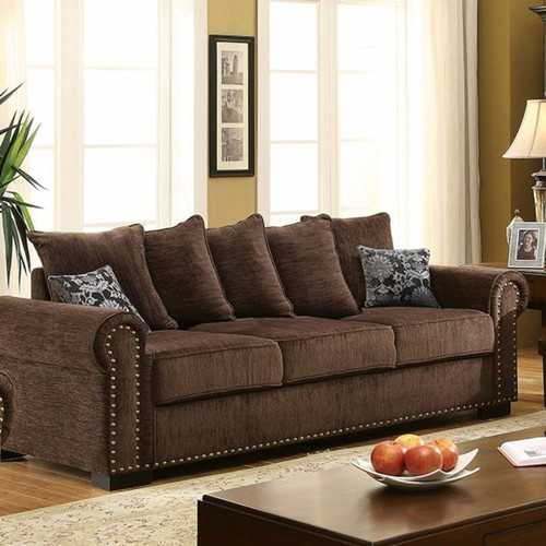 Nail head Trim Chenille Fabric Sofa, Brown